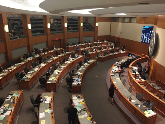 The chamber of the New Mexico House of Representatives is seen in May 2017 in the state's capitol in Santa Fe.