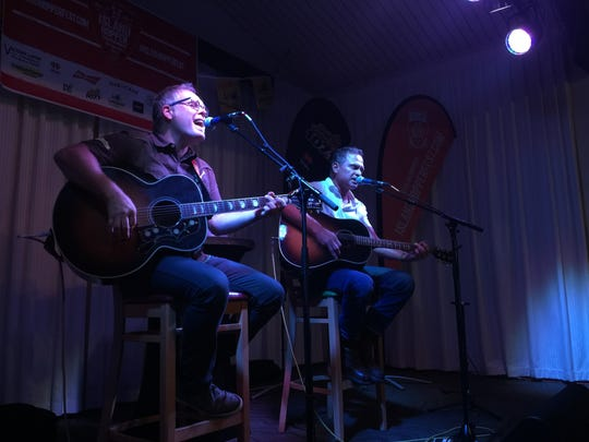Country singer-songwriters Danny Myrick (left) and Tim James performed Aug. 3 at The Marina at Edison Ford in Fort Myers. The show was a preview party for the Island Hopper Songwriter Fest, which takes place Sept. 22-Oct. 1 in Southwest Florida.
