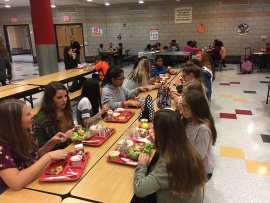 Students eat lunch in the Johnson City Central School