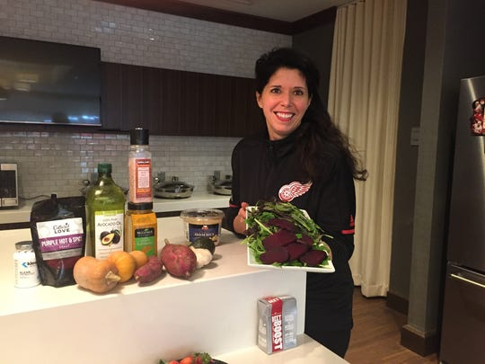 Red Wings dietitian Lisa McDowell with some of her favorite super foods.