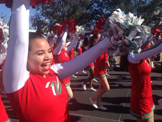 Hannah-Rose Skibba participates in a parade at Walt