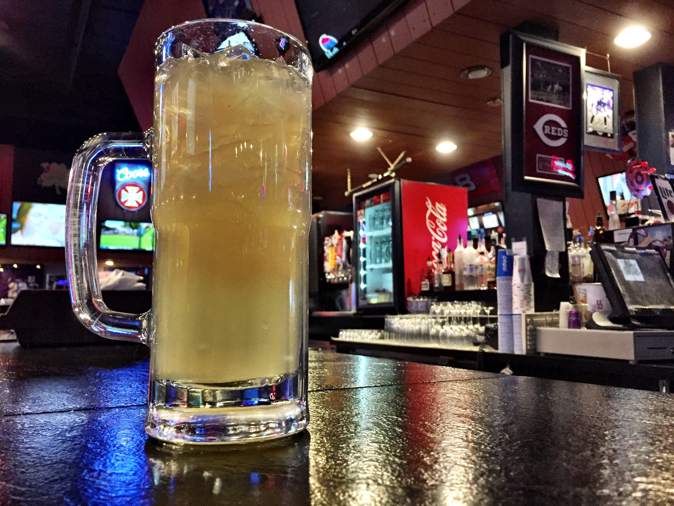 The Sting Zing, a signature cocktail, is made with gin, vodka and rum at the Sting sports bar.