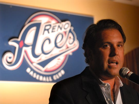 Stuart Katzoff, franchise managing partner, unveils the name of Reno's Triple-A baseball team on September 23, 2008 at the Siena Hotel Spa Casino.  ooo  Stuart Katzoff owner of the Reno's Triple-A baseball team unveils the new name for the first time Tuesday at the Siena Hotel in downtown Reno.