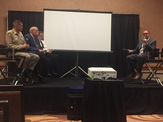 Law enforcement and security officials discussed safety and security at the XLIVE conference in Las Vegas last December.