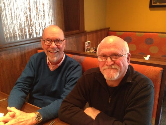 Jerry Galvin, left, and Jay Gilbert, both radio personalities, were responsible for the fake Plummet Mall radio ads in 1985 that got the city talking 30 years ago.
