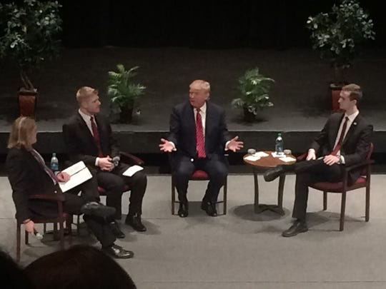 Donald Trump speaks at a student-moderated event at Simpson College April 8, 2015.
