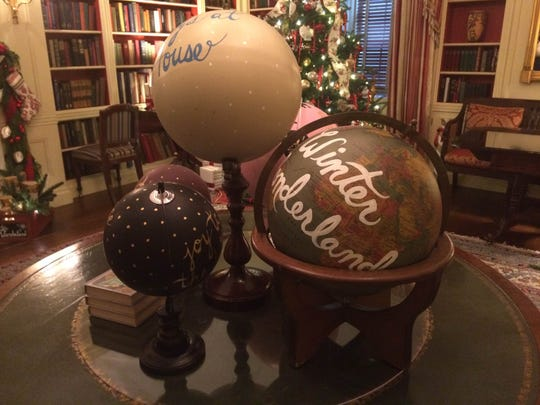 Decorations made by De Pere native Paige Pera adorn a library at the White House in December 2014.