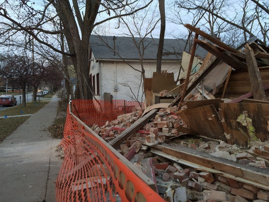The former Moy Yat Ving Tsun Kung Fu Studio at 614 S. Dubuque St. was reduced to a pile of rubble late Thursday night or early Friday morning, according to a neighboring tenant. The Book Shop at 608 S Dubuque St. and Suzy's Antiques and Gifts remain standing as of Friday.