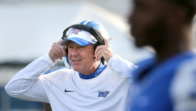 MTSU coach Rick Stockstill on the sidelines during the game against UTSA on Nov. 5, 2016.