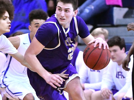 CPA's Drew Scott dribbles out of trouble against Marshall