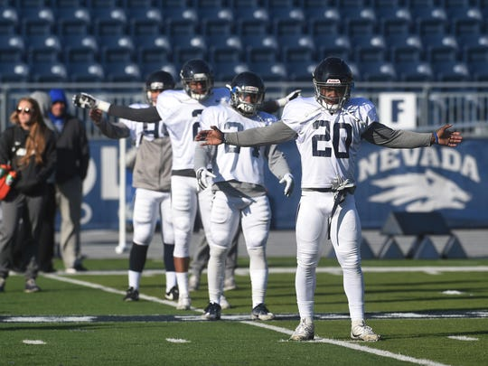 Nevada's James Butler, far right, is excited to play in the Air Raid offense after some initial trepidation.