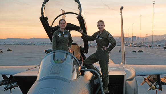 Brie Larson (left) is suiting up as pilot-turned-hero