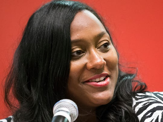 Shannon Williams, President and General Manager of The Indianapolis Recorder, at a forum for the three main candidates for Indiana Governor, sponsored by Radio One and The Recorder, Central Library, Indianapolis, Sunday, Sept. 25, 2016.
