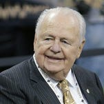 New Orleans Saints owner Tom Benson sitting on the sideline before an NFL football game against the Green Bay Packers in New Orleans in this Oct. 26, 2014, file photo. A judge has denied a motion by media outlets who sought to open court for next weeks trial involving New Orleans Saints and Pelicans owner Tom Benson and his estranged heirs.