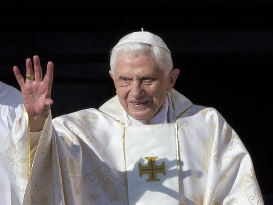 This Oct. 19, 2014 file photo shows Pope Emeritus Benedict XVI arriving in St. Peter's Square at the Vatican. the retired pope has published an analysis of the origins of the clergy sex abuse scandal, blaming it on the sexual revolution of the 1960s and church laws that protected priests in a rare commentary, published Thursday April 11, 2019.