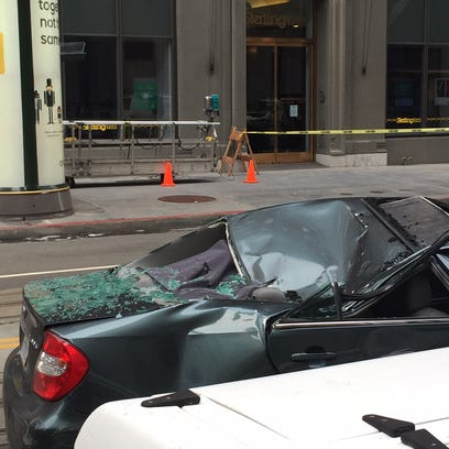 The roof of a car on California Street in downtown