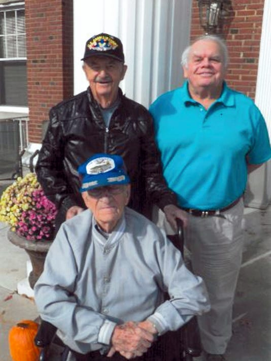 Dave Demichei (standing left) and Russ Bender (seated) will be among the World War II veterans to join AMVETS Post 224 Commander David Edwards during the 2015 Veterans Day parade in Chambersburg.