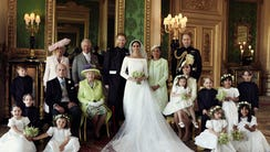 This royal wedding portrait features Prince Harry and