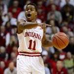 Feb 11, 2016; Bloomington, IN, USA; Indiana Hoosiers guard Yogi Ferrell (11) yells at his teammates during the first period of the game against the Iowa Hawkeyes at Assembly Hall. Mandatory Credit: Marc Lebryk-USA TODAY Sports