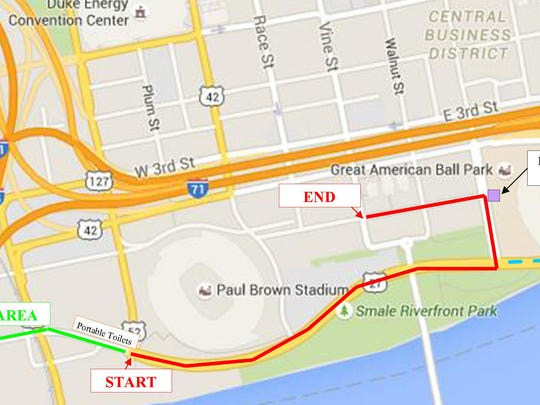 The route for the 52nd Cincinnati St. Patrick's Day parade.