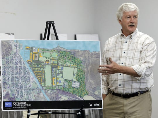 Jeffrey Randol, director of the Fort DuPont Redevelopment Corporation, discusses Tuesday the master plan for the fort's reuse and annexation by Delaware City at the Delaware City Library.