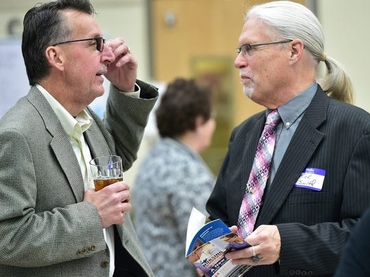 Rod Hocker, left, chats with Rick Smith before the start of dinner at the Capital Campaign Kickoff. Hocker, president of Johnnie's Hotel and Restaurant Service was the guest speaker. The Franklin County Career and Technology Center's Licensed Practical Nursing Program held their capital campaign kickoff on Thursday, March 9, 2017 at Franklin County Career and Technology Center.