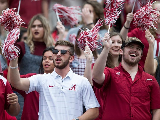 Alabama fans cheer before the Mercer game at Bryant