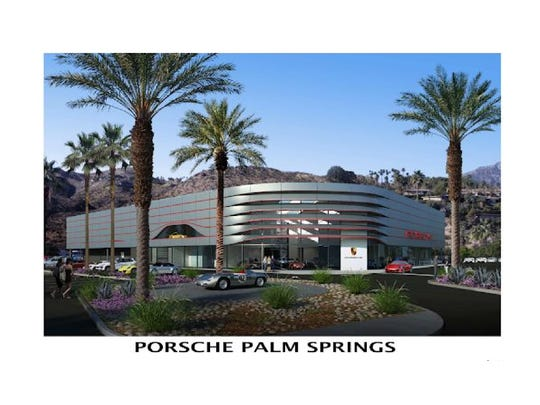 Designs for a Porsche dealership proposed for Highway 111 in Palm Springs.