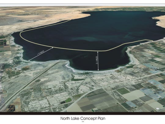 A plan proposed by Riverside County Supervisor V. Manuel Perez calls for building a horse=shoe shaped lake around the northern end of the Salton Sea.