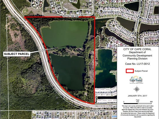 A map of the 85-acre property that Cape Coral could