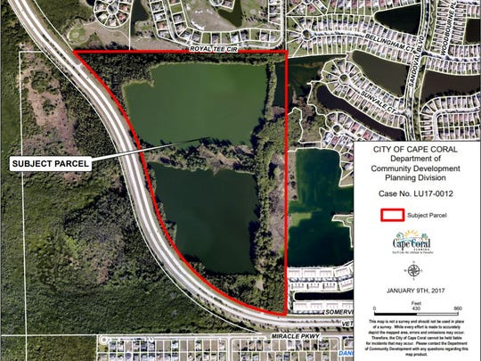 A map of the 85-acre property that Cape Coral could designate for multifamily housing.