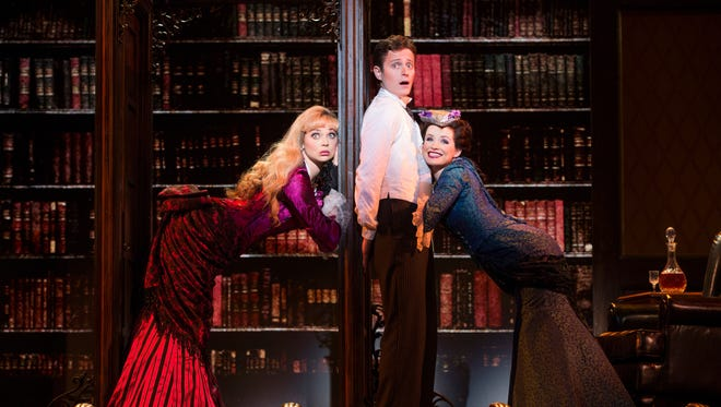 "Kristen Beth Williams as Sibella Hallward, Kevin Massey as Monty Navarro and Adrienne Eller as Phoebe D'Ysquith in a scene from ""A Gentleman's Guide to Love & Murder."