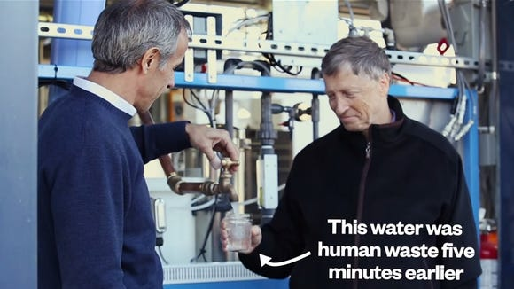 From a demonstration video, Bill Gates takes a glass of water from the Janicki Omniprocessor.