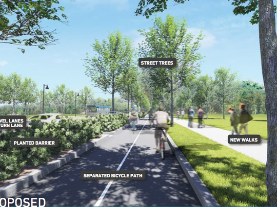 West of Airport Road, a new district is emerging. In its initial stages, reconstruction of this segment of State Street may include two vehicular travel lanes and a wide, planted median.