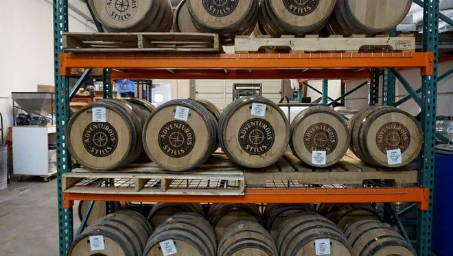 Stacks of barrels for aging at Adventurous Stills in Tempe.