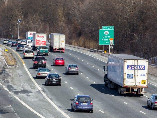 Traffic moves along Interstate 95 near the Newark rest