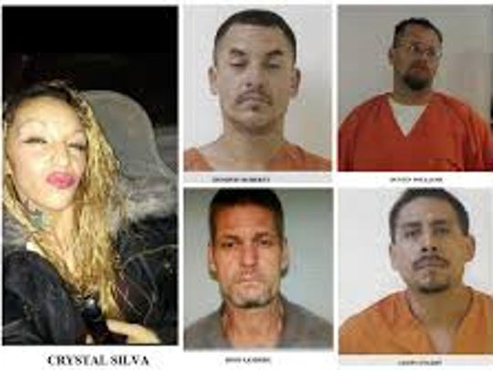 Jason Enjady, lower right, was reportedly in custody Monday, the last of five suspects in a Feb.2 attempted home invasion in Alamogordo