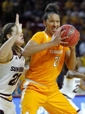Tennessee's Mercedes Russell looks to make a move against Arizona State's Sophie Brunner during the first half of a second-round NCAA women's tournament game on March 20 in Tempe, Ariz.