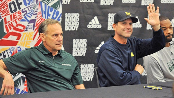 It's finally time for Mark Dantonio and Jim Harbaugh to take care of their business on the field.