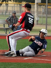 Silver City All Star Cruz Sanchez slid in safely at