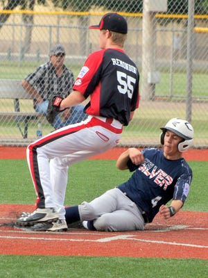 Silver City All Star Cruz Sanchez (4) hustled home on a wild pitch in the Monday's opening round of the Senior Division (15-16) bracket for the New Mexico Little League District 7 Tournament.