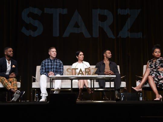 Larenz Tate, from left, Joseph Sikora, Lela Loren,