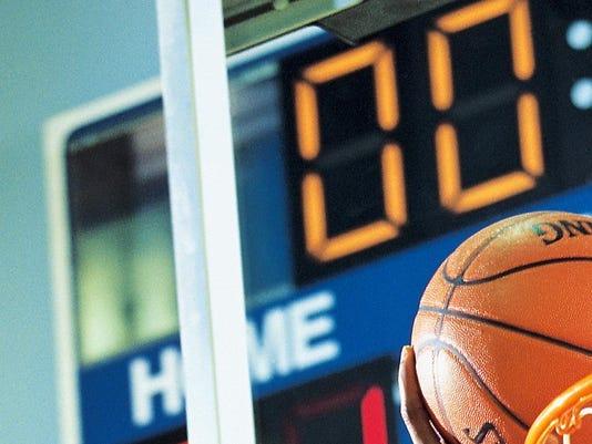 Basketball player scoring as time expires
