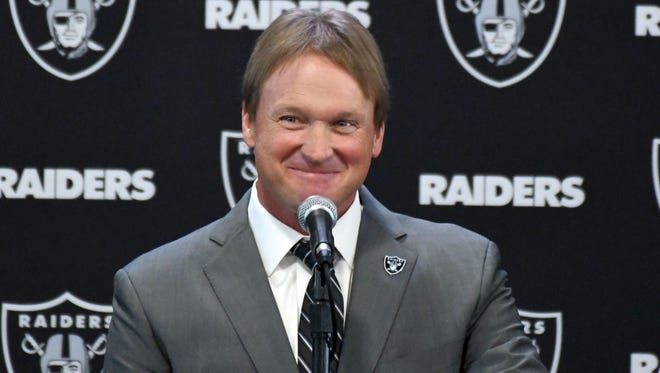 Jon Gruden is introduced as head coach at a press conference at the Oakland Raiders headquarters
