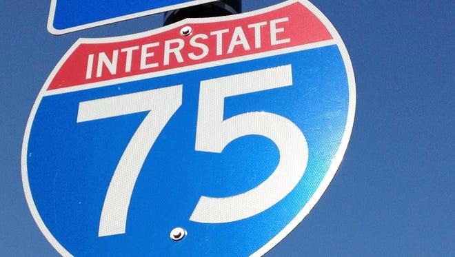 I-75 sign.