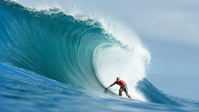 Kelly Slater of Florida, USA (pictured) placed second during Round 1 of the Billabong Pipe Masters when he was defeated by Adam Melling (AUS) on Friday December 12, 2014. Slater will surf again in Round 2 when competition resumes.