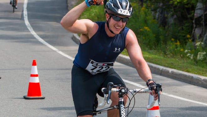Shrewsbury's Bryan Kuderna on the bike ride of the Mont-Tremblanc Ironman.