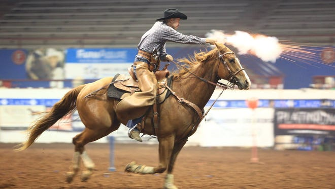 The Cowboy Mounted Shooting Association will be at the Ruidoso Downs Racetrack in conjunction with the Lincoln County Cowboy Symposium Friday through Sunday.