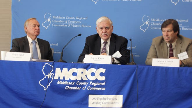 "The Middlesex County Regional Chamber of Commerce's Meet the Mayors series continued on Oct. 13 with, from left to right, Jim Cahill of New Brunswick, Peter Cantu of Plainsboro and Francis ""Mac"" Womack of North Brunswick discussing economic development of the Route 1 corridor and throughout their municipalities."