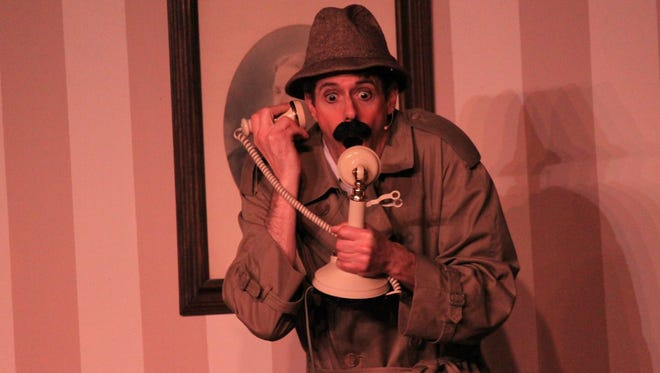 """Sheboygan actor Chris Fontaine plays Inspector Pratt, a bumbling detective, in the murder-mystery comedy """"Murdered to Death"""" at Memories theater in Plymouth."""